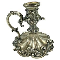 Antique 1831 Sheffield England chamber candle stick holder with finger loop Sterling Silver