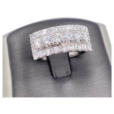 Art Deco 18k White gold 1.80ct diamond cluster ring VS-Si