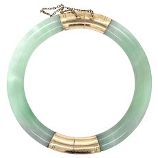 GIA Certified Vintage Natural Jade jadeite bangle with 14k yellow gold etched clasp