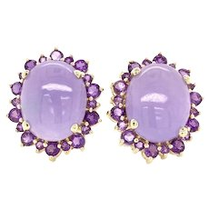 Vintage 14K Yellow Gold Chunky Lavender Jade Cabochon Earrings w/ Amethyst Halo