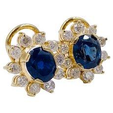 Estate 18k Yellow gold Sapphire 1.25ct Diamond earrings omega back