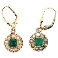 Antique 14K Yellow Gold Green Paste Seed Pearl Leverback Earrings