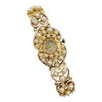 Rare Estate Hamilton 14k Yellow gold Pearl Ladies Watch 42.4gr