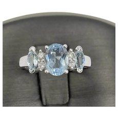 Estate 14k White gold 1.00ct Aquamarine and diamond ring