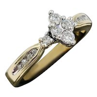 14k yellow gold Keepsake illusion marquise diamond ring