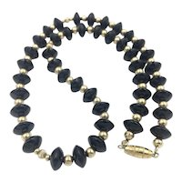 """Estate 10K Yellow Gold Art Deco Disc Onyx and Bead Necklace - 20"""" Long"""