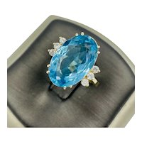 Estate 14k Yellow Gold 10.00ct natural Blue Topaz accented with Diamonds Ring Size 6