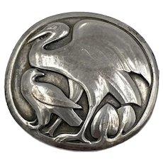 Antique Georg Jensen Sterling Silver Heron Bird brooch #167 Rare early 1900's