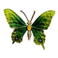 Estate Italian 18K Yellow Enamel Butterfly Brooch pin