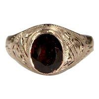 Antique 10k Rose gold etched Garnet ring signet ring