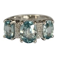 Estate 10k White Gold Blue Topaz and Diamond Ring