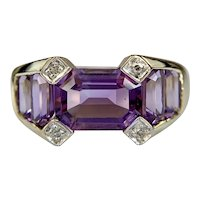 Estate 10k Yellow Gold Amethyst and Diamond Ring