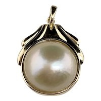 Estate 10k Yellow Gold Mabe Pearl Pendant