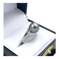 Estate Tahitian Pearl 14k White Gold .20ct Diamond Ring - Costco Ring