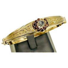 Antique Austro-Hungarian 14k Yellow Gold Rose Cut Diamond Hinged Bangle Bracelet