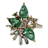 Estate 14k yellow gold Colombian Emerald and diamond cocktail ring