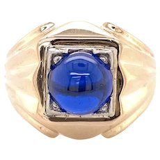 Art Deco 18k Two Tone Synthetic Spinel Cabochon men's Ring