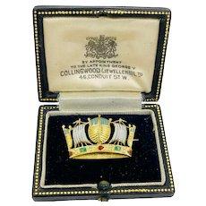 Antique 9ct brooch pin Collingwood Jewelers London England Crown enamel 9 karat