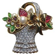 Swarovski Easter Basket Brooch Pin Retired Collectible