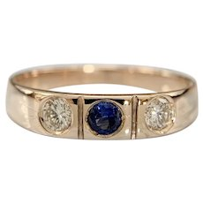 Antique 10k Rose gold diamond and Sapphire band ring