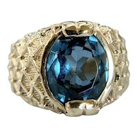 Estate vintage 14k Yellow Gold Synthetic London Blue Spinel Statement Ring