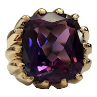 Estate Vintage 10k Yellow Gold Synthetic Alexandrite Statement Ring