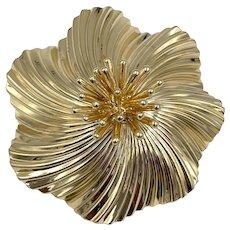 Vintage Tiffany & Co. 14k yellow gold swirl fur clip brooch