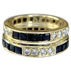 18k Yellow Gold Diamond and Sapphire Eternity Bands (Set of 2)