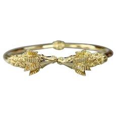 Vintage 18k Yellow Gold Rams Head Hinged bangle Bracelet