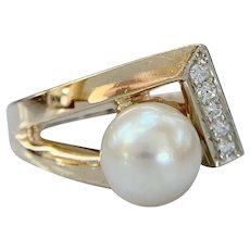 Modernist 14k Two Tone Pearl and Diamond Abstract Ring