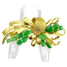 Vintage 14K Yellow Gold Imperial Jade jadeite Brooch pin
