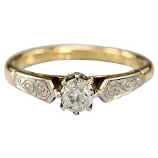 Antique 18k Two Tone Old European .21cts Diamond Solitaire Ring
