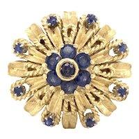 Estate 18k Yellow Gold Ceylon Sapphire Thai Princess Ring