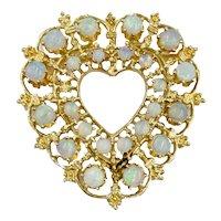 Vintage 14K Gold Opal Heart pendant brooch combo Australian Opal Etruscan style