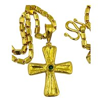 """Gurhan 24kt Yellow Gold Emerald Cross Pendant Necklace 21"""" long Pure gold .999"""