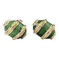 Estate 18k Tiffany & Co. Jean Schlumberger Green Enamel Earrings