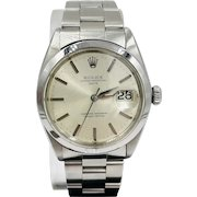 Men's Vintage Rolex Oyster Perpetual Date 34mm Silver Dial Stainless Steel Watch