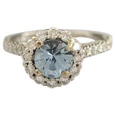Estate 18k White Gold Synthetic Blue Spinel and .52ct Diamond halo Ring