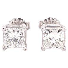 2.00cts Princess cut Diamond stud Earrings 14k white gold