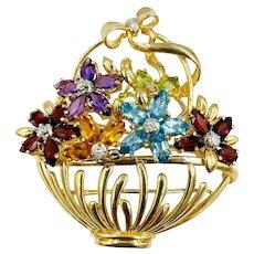 Estate 14K Gold Multi Gemstone flower basket with Diamonds Brooch pin Pendant