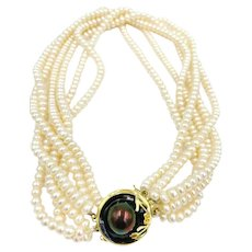 """14k gold Multi Strand Pearl Choker Necklace large blister pearl clasp 16"""""""