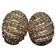 Ciner Pave Rhinestone Clip Earrings