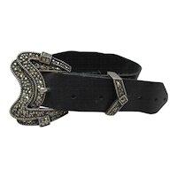 Vintage Judith Jack Sterling Silver Marcasite Buckle strap bracelet