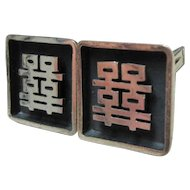 Vintage California Modernist HAROLD FITHIAN Sterling Silver Asian Cufflinks