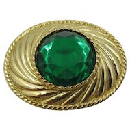 Rare Emanuel Ungaro Paris Gold Tone Green Large Rhinestone Brooch Pin