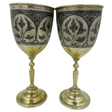 Antique Russian 875 Silver Niello Kubachi Wine Cups Gold Wash Set of 2