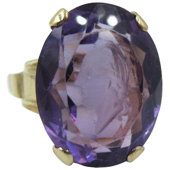 Vintage 14k Yellow Gold & Carved Amethyst Intaglio Cameo Ring