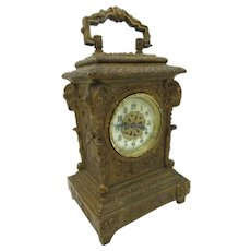 Antique Carriage Clock Brass Porcelain Dial The New Haven Clock co. Working