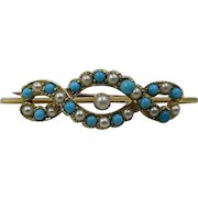 Victorian 15ct Gold Turquoise Pearl Pin Brooch English Antique