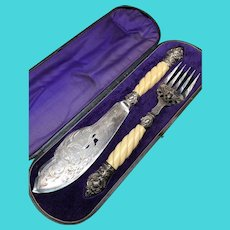 Victorian Silverplate Fish Serving Knife & Fork Set in Case